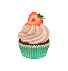 muffin with cream and strawberry on top delicious vector image