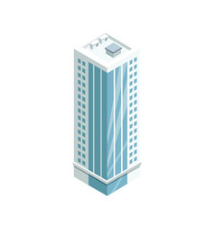 Multi-storey building with glass facade icon vector