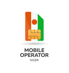 Niger mobile operator sim card with flag vector
