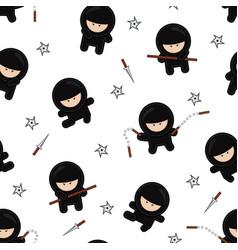 ninja characters seamless pattern on white vector image
