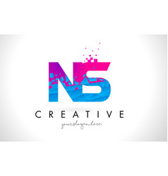 ns n s letter logo with shattered broken blue vector image