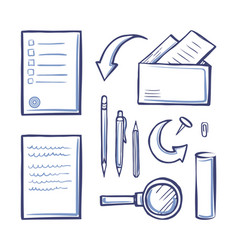 Office papers monochrome sketches outline vector