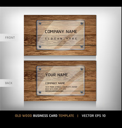 Old Wooden Texture Business Card Background vector image