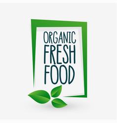 Organic fresh food green leaves background design vector