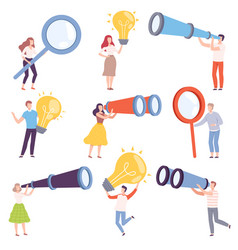 people characters holding big objects like light vector image