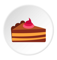 piece of cake with cream icon circle vector image
