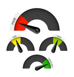 poor fair good and excellent colorful gauge vector image