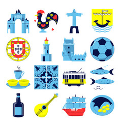 portugal culture icons set in flat style vector image