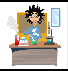 professor near the blackboard with formulas at vector image