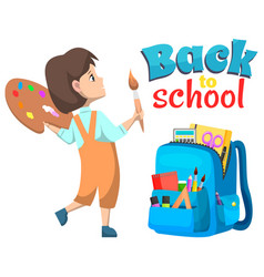 pupil girl back to school backpack sign vector image