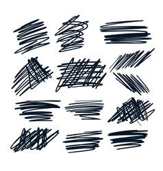Random pen sketch sribbles design set design vector