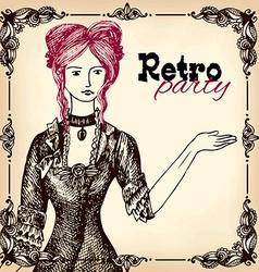 Retro party invitation design vector