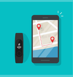 running track route on map mobile phone or vector image