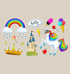 set girls fashion cute patches fun stickers vector image