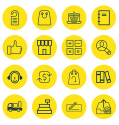 set of 16 ecommerce icons includes bookshelf vector image