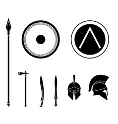 Set of ancient greek spartan weapon and vector