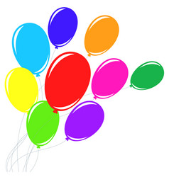 Set of beautiful colored balloons with ropes vector