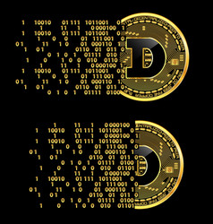 Set of crypto currency dogecoin golden symbols vector