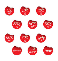 set red stickers discount cash back and off vector image