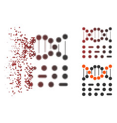 Shredded pixel halftone genetic code icon vector