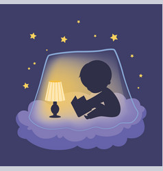 silhouette cute little boy sitting on a cloud vector image