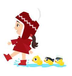 small girl with ducks swim vector image