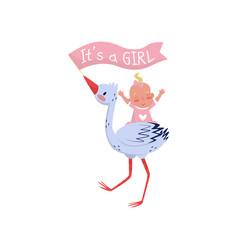 stork holding flag in beak and cheerful baby girl vector image