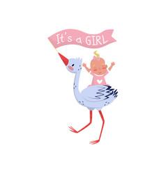 Stork holding flag in beak and cheerful bagirl vector