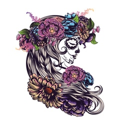 Sugar Skull Girl in Flower Crown3 vector image