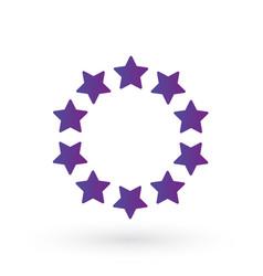 ten score stars in circle geometric shape purple vector image