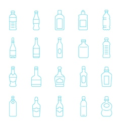 Thin lines icon set - bottle and beverage vector image