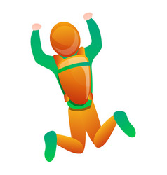 top view flying skydiver icon cartoon style vector image