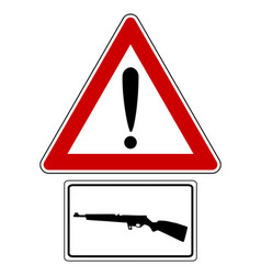 Traffic sign with exclamation mark for shooting vector