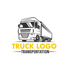 truck logo transportation monochrome style vector image