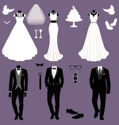 Wedding card with the clothes of the bride and vector