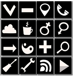 White and black icons vector
