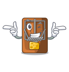 Wink mousetrap in shape mascot wood vector