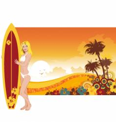 woman surfer vector image