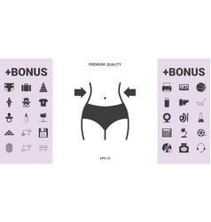 women waist weight loss diet waistline icon vector image