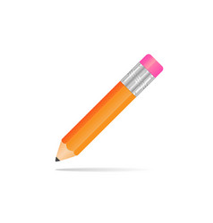 Yellow pencil with a rubber band on a white vector