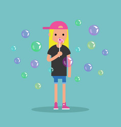 Young female character blowing soap bubbles flat vector