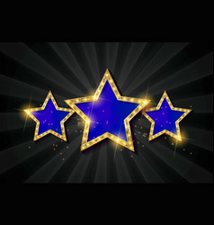blue retro light sign three gold stars vector image vector image