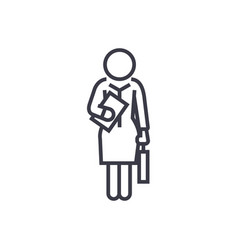 businesswoman standing secretary linear icon vector image