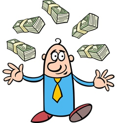 happy rich businessman cartoon vector image vector image
