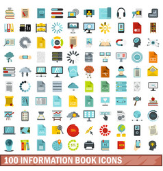 100 information book icons set flat style vector image vector image