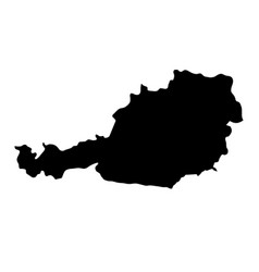 black silhouette country borders map of austria vector image vector image