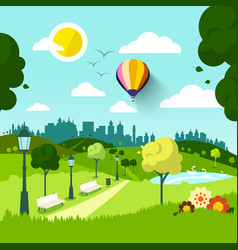 city park nature landscape green natural scene vector image vector image