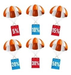 red and white parachute with paper bag sale vector image vector image