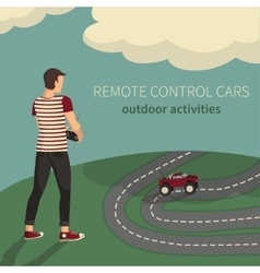 Boy managing cars on the radio control vector image vector image