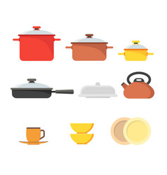 cartoon cookware set row vector image vector image